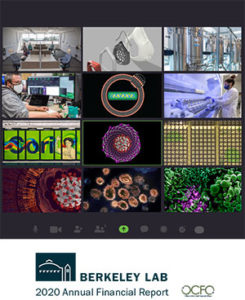FY20 Annual Report cover showing covid-19 research-related images in a Zoom meeting format.s